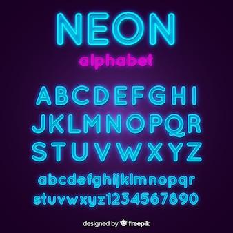 Neon alphabet template