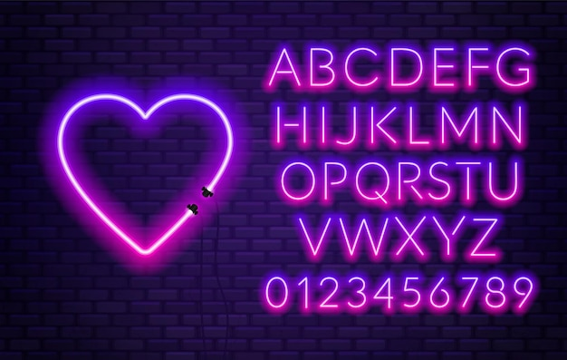 Neon alphabet with heart on brick wall background.