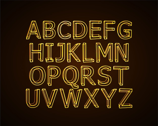 Неоновый алфавит.