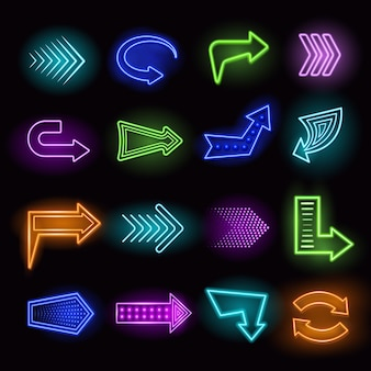 Neon arrows set