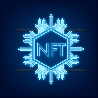 Neon art pattern with nft for game background design. crypto currency finance concept. currency icon.