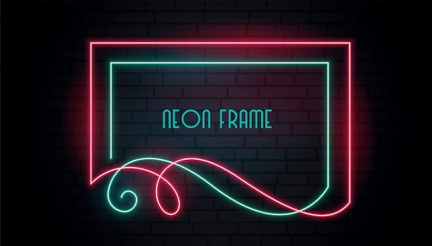 Neon attractive frame in floral swirl style