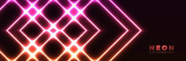 Неоновый фон абстрактный светящийся баннер с синими фиолетовыми неоновыми стрелками