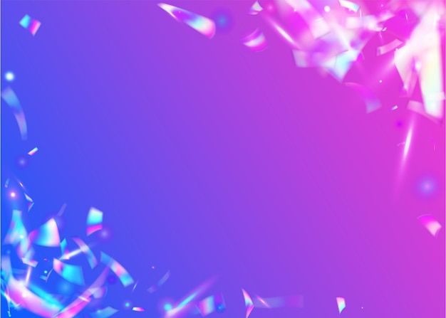 Neon background. crystal art. iridescent glitter. retro abstract template. glitter foil. holographic confetti. violet disco texture. laser banner. purple neon background