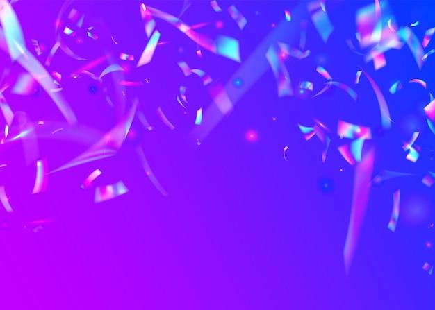 ネオンの背景。パープルシャイニーグリッター。クリスタルティンセル。軽いテクスチャ。キラキラアート。パーティーフレア。フィエスタフォイル。レトロなお祝いの背景。ピンクのネオンの背景