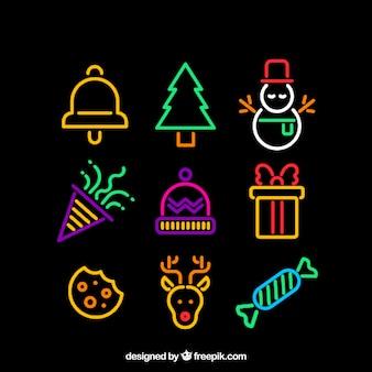 クリスマスの要素を持つネオンの背景