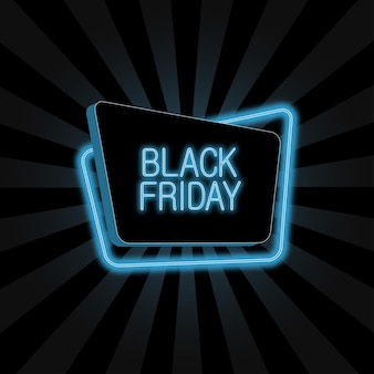Neon banner for black friday advertising sale poster with 3d and glowing frame