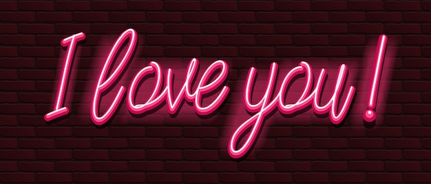 Neon banner font bricks wall i love you