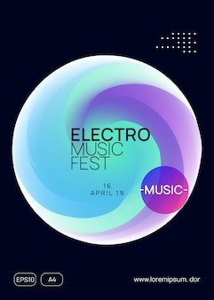 Neon banner. trendy art for brochure. memphis background for presentation concept. linear house party. electro and discotheque layout. purple and turquoise neon banner