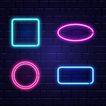 Neon banners set. color neon frames on brick wall. realistic glowing night signboard. shining neon effect. night bright advertising. illustration