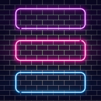 Neon banners set. color neon frames on brick wall