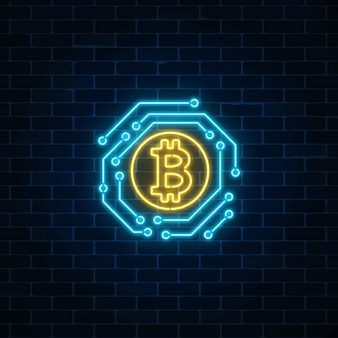 Neon bitcoin currency sign with electronic circuit. cryptocurrency emblem on dark brick wall background.