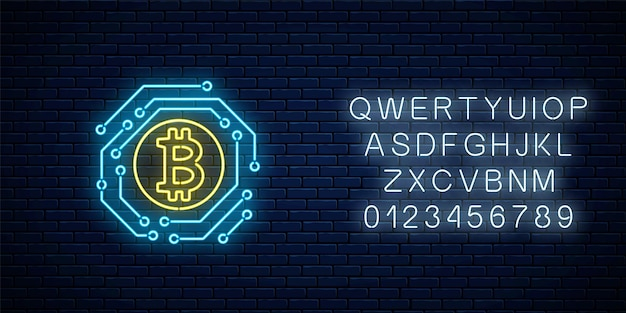 Neon bitcoin currency sign with electronic circuit. cryptocurrency emblem with alphabet