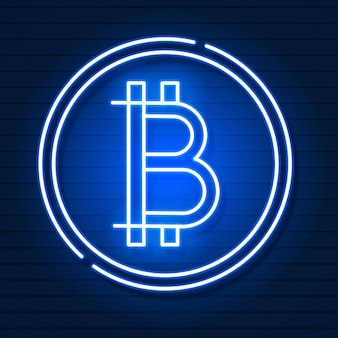 Neon bitcoin symbol isolated on black background.light effect. digital money, mining technology concept. vector icon.