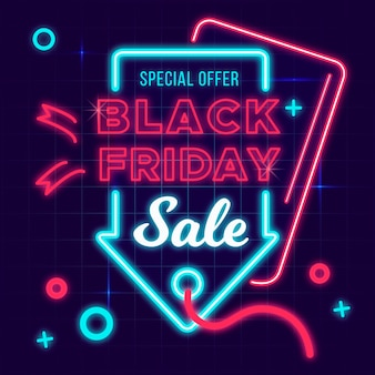 Neon black friday background