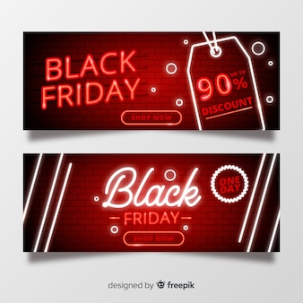 Neon black friday banners set