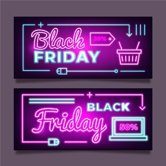 Neon black friday banners template