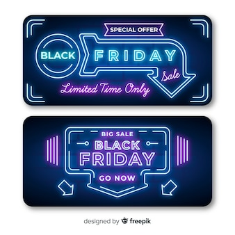 Neon black friday banners with arrow lights