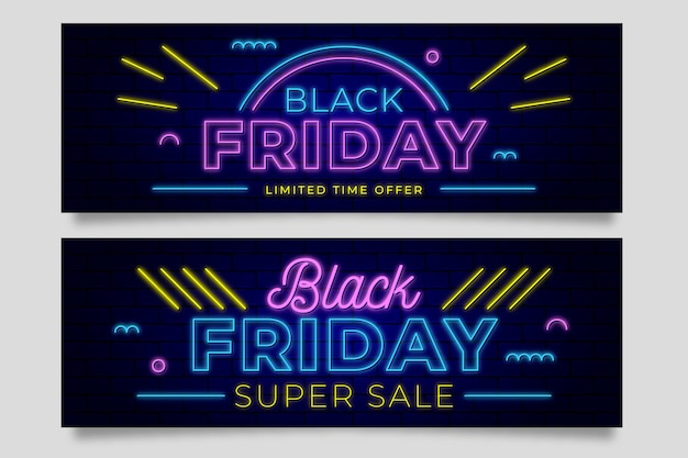Neon black friday banners