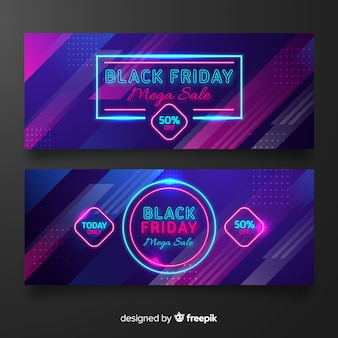 Neon black friday collection of banners