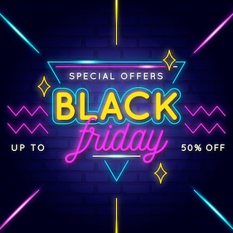 Neon black friday concept