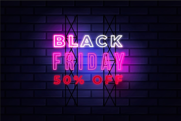 Neon black friday design