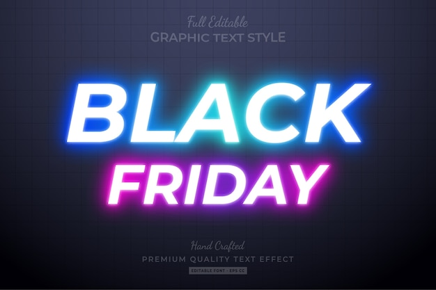 Neon black friday editable text style effect premium