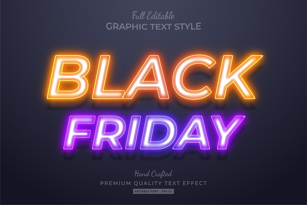 Neon black friday editable text style effect