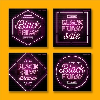 Neon black friday instagram post collection