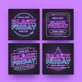 Neon black friday instagram posts