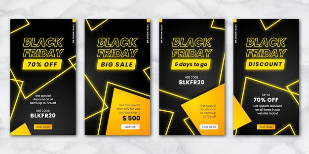 Neon black friday instagram stories set