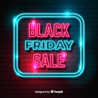 Neon black friday in a lighten neon square