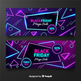 Neon black friday set of banners