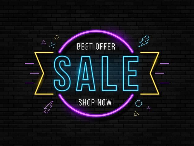 Neon black friday signboard best offer sale.