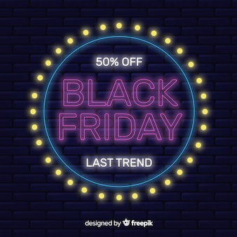 Neon black friday special offer banner