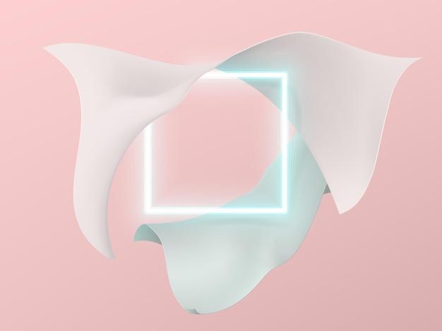 Неоновая пустая квадратная рамка в обрамлении летящей атласной ткани пастельных тонов