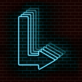 Neon blue arrow on a brick wall.