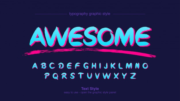 Neon blue artistic graffiti typography
