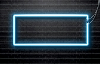 Neon blue banner isolated on black brick wall