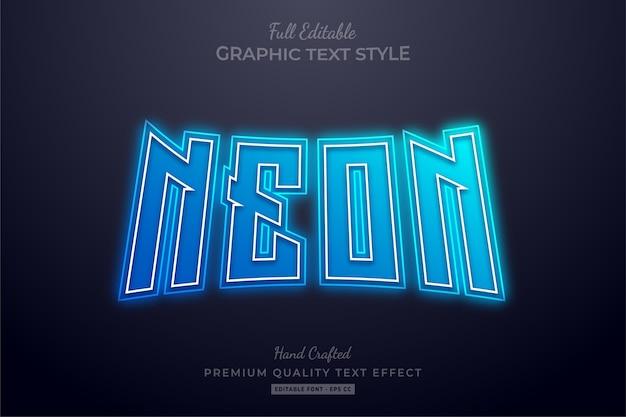 Neon blue editable premium text effect