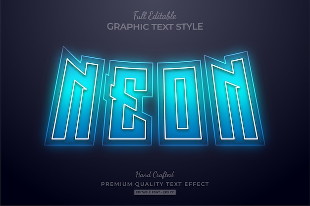 Neon blue editable text effect font style