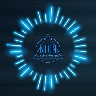 Неоновая синяя рамка солнечных лучей в форме светящихся лучей