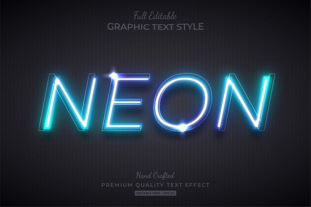 Neon blue glow editable text effect font style