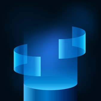 Neon blue gradient modern futuristic display podium stage showcase for technology product for cyber, hologram, data, vr. dark glow background.