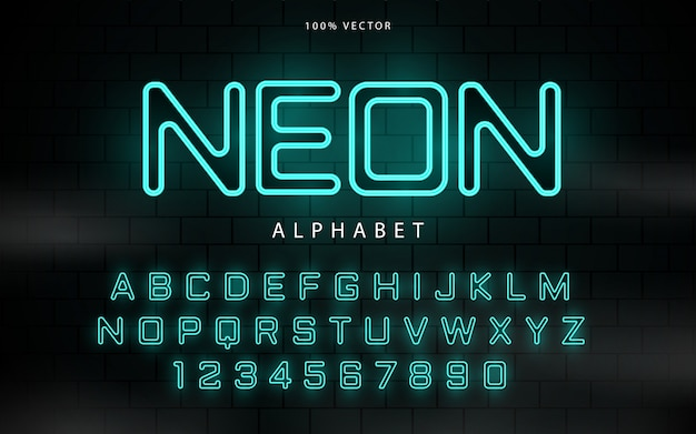 Neon blue light font alphabet vector with glowing effect