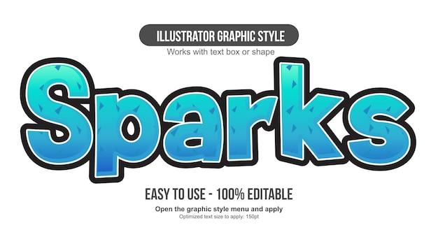 Neon blue pattern cartoon editable text effect