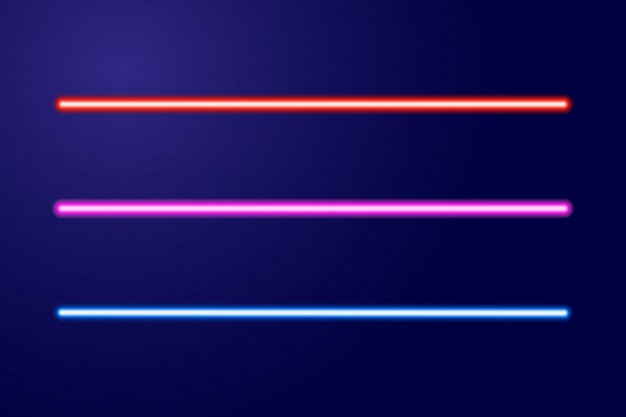 Neon blue, red, pink glowing lines or light swords of