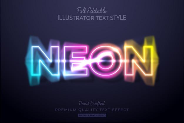 Эффект редактируемого стиля текста неонового размытия премиум