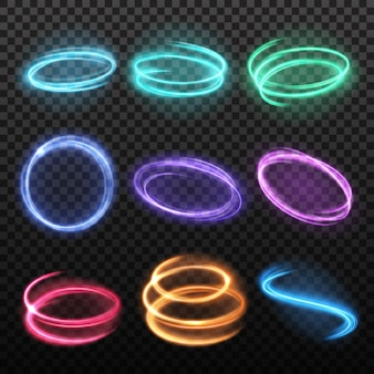 Neon blurry motion circles set