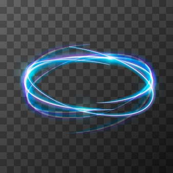 Neon blurry trail effect at motion. luminous rings on transparent background.